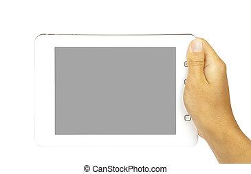pc, blanc, tablette, mains