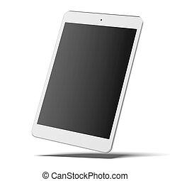 pc, blanco, moderno, tableta