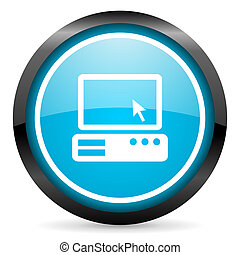 pc blue glossy circle icon on white background