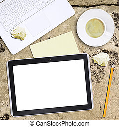 pc, café, ordinateur portable, tablette, tasse
