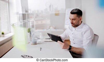 pc, café, tablette, bureau, homme affaires