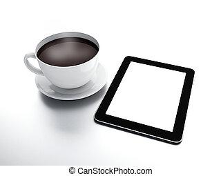 pc, café, tablette, tasse