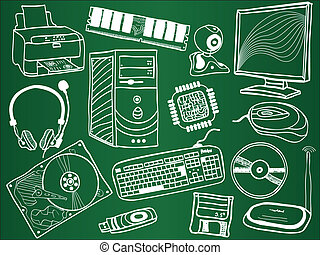 Pc components and peripheral devices sketches on school...