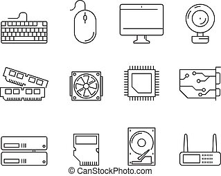 Pc components icons. Processor ssd cpu power adapter ram memory and hdd linear vector symbols isolated