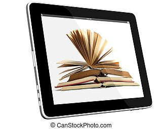 pc computer, buch, tablette