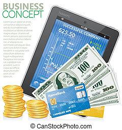 pc, concept, financier, tablette