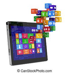 pc, concept, tablette, média