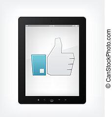 pc, conjunto, tableta