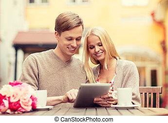 pc, couple, café, tablette