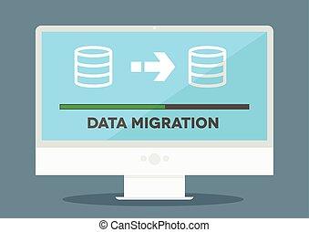 pc Data Migration - minimalistic illustration of a monitor...