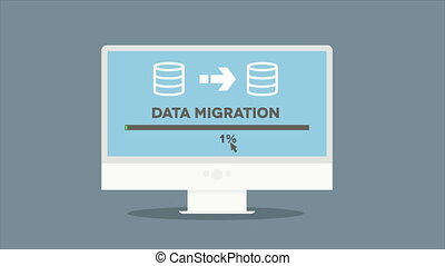 pc data migration - minimalistic animation of a monitor with...