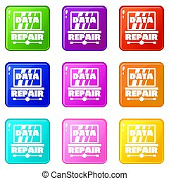 Pc data repair icons set 9 color collection
