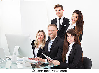 PC,  desktop,  businesspeople, usando