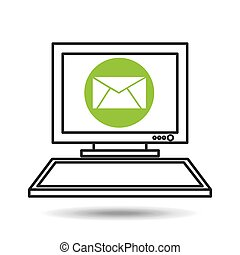 pc device network envelope mail media icon