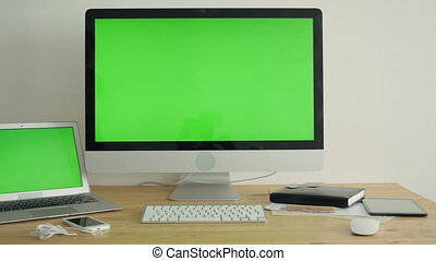 PC Display With Green Screen On The Table - PC Display With...