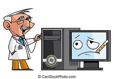 PC doc - Doc auscultating the pc