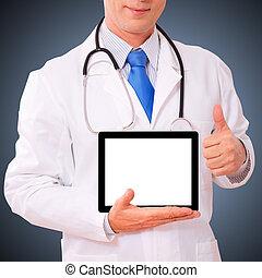 pc., dolgozó, tabletta, orvos