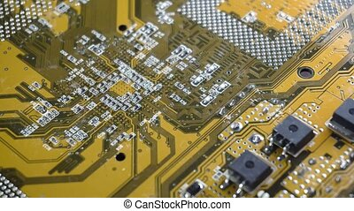 PC electronic circuit board close up.