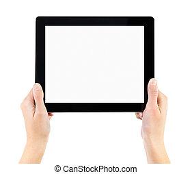pc., elektroniske, holde, tablet, hænder