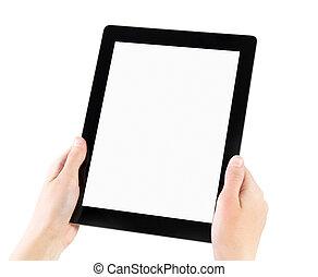 pc., elektroniske, holde, tablet