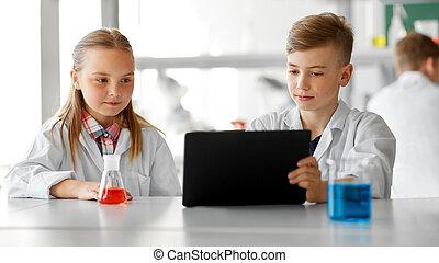 pc, escolares, tableta, laboratorio