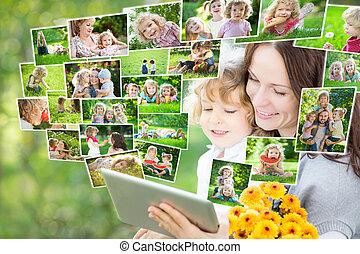 pc, familia feliz, tableta, utilizar