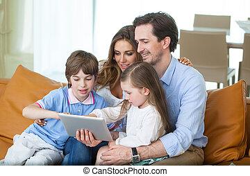 pc, familie, tablette, glücklich