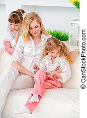 pc, familie, tablette