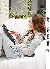 pc, femme, informatique, tablette, heureux