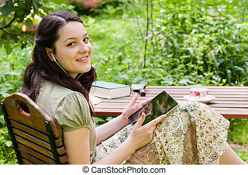 pc, femme, jardin, tablette, jeune