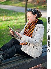 pc, femme, jeune, tablet.