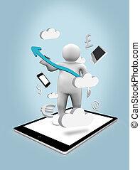 pc, figure, tablette numérique