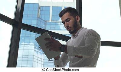 pc, fonctionnement, tablette, homme affaires