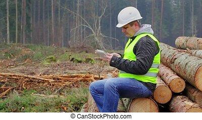 pc, forêt, tablette, officier
