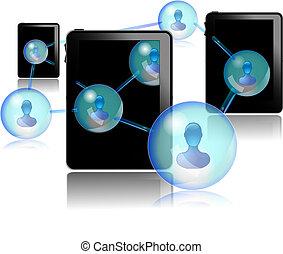 pc, gente, tableta, el comunicarse