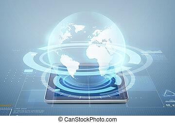 pc, globo, computadora, proyección, tableta