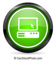 pc green glossy icon on white background