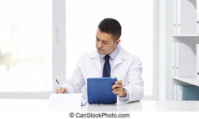 pc, hôpital, presse-papiers, tablette, docteur