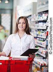 pc, hembra, farmacéutico, tenencia, tableta