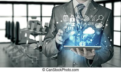 pc, hombre, empresa / negocio, tableta, utilizar