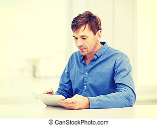 pc, homem, tabuleta, trabalhando, lar