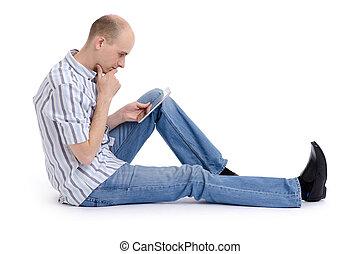pc, homme, jeune, tablette, utilisation