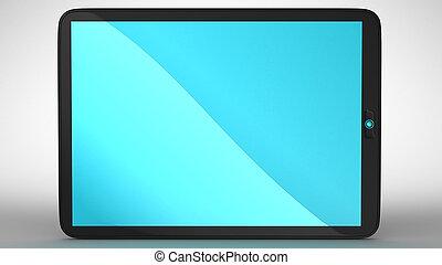 pc, horizontaal, moderne, tablet, aanzicht