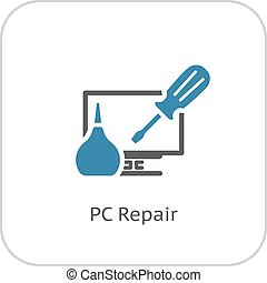 pc, icon., naprawa, płaski, design.