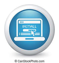 pc, installieren, ikone
