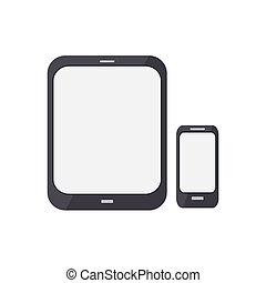pc, intelligent, render, tablette, téléphone