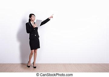 pc, kobieta handlowa, tabliczka