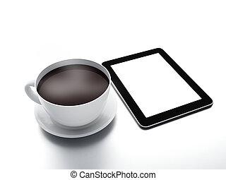 pc, koffie, tablet, kop
