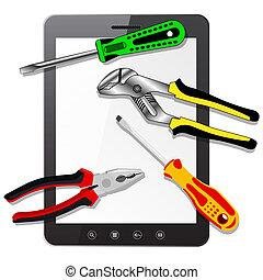 pc komputer, narzędzia, tabliczka