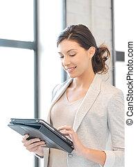 pc, kvinna, dator, kompress